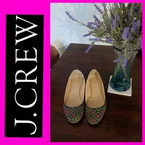 J Crew Embroidered Ballet Flats